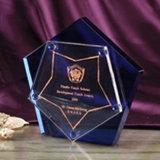Personalizados óptica Premio Trofeo de cristal claro con impresión a color Logo