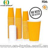 16oz desechables vasos de papel de pared de rizo con tapa