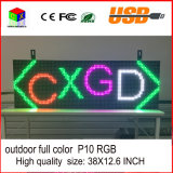 P10 RGB im Freien farbenreicher der LED-Bildschirmanzeige USB-programmierbarer Rollwerte-LED Zoll Bildschirm-der Bildschirmanzeige-38X12.6