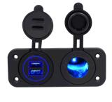 이중 USB 충전기 접합기 담배 점화기 소켓 이동할 수 있는 iPod를 위한 파란 LED 가벼운 전원 출구