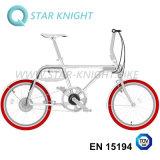 E-Bicicletta di alluminio di potere verde con la batteria staccabile