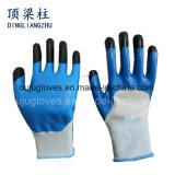 Полно нитрил окунул промышленные перчатки, связанные перчатки запястья руки покрынные нитрилом