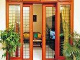 Раздвижная дверь деревянного зерна алюминиевая с двойным стеклом