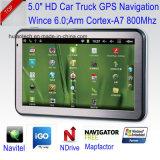 """Percorso marino di GPS """" del camion privato dell'automobile 5.0 con il navigatore capacitivo di GPS di tocco, Bluetooth, trasmettitore di FM, Avoirdupois-in macchina fotografica posteriore, sistema di percorso tenuto in mano di GPS"""