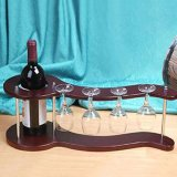 Полка чашки вина держателя бутылки вина вися сделанная из древесины