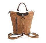 Waxed Heavy Canvas Backpack Genuine Leather Big Capacity Laptop Handbag (RS-82051K)