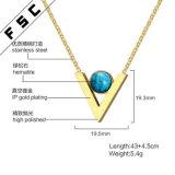 Halsband van de Toebehoren van de Vrouwen van de Juwelen van het Roestvrij staal van de manier de Goud Geplateerde V-vormige Turkooise