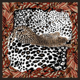 Écharpe carrée en soie chinoise estampée par coutume de configuration de léopard