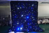 LED 2018 cortina de estrella con negro drapeado y luces de color azul