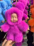 2017 Nova chegada adorável bebê dormir Rex Chaveiro de peles de coelho