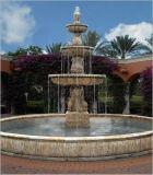 Waterfountain exterior em pedra mármore branco para jardim / Quintal /Plaza Decoration