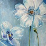 De blauwe Bloemen 100% Met de hand gemaakt Olieverfschilderij met Glod schitteren
