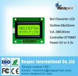 LCD van het karakter Vertoning 0802 met FSTN/Stn blue/Y-G 5V voor Industriële Toepassing