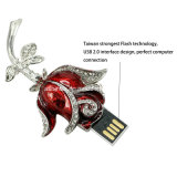 Palillo cristalino del USB Pendrive de la flor del flash de la memoria del USB