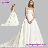 Оптовые шикарные просто белые платья венчания W18380 мантии шарика