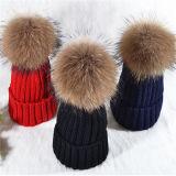 Прелестная Фэшн трикотаж головные уборы меховые шапки багажной сетки POM POM