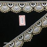 4cm 금과 Zari 백색 레이스 의 부채 모양으로 만들어지는 형식적인 신부 착용 레이스 Hme849 정돈