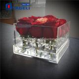 Caso de acrílico claro de lujo hecho a mano de las rosas