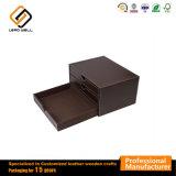 Multifunción de cuero con 3 cajones caja de embalaje Caja de regalo