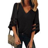Manchon noir Fashion femmes Flare Chemisier col V desserrés