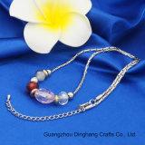 方法宝石類の円形の楕円形のクリスタルグラスは女性の宝石類のための円形の平らなプラスチックビードのネックレスが付いている交替に玉を付ける