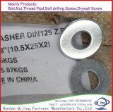 DIN125 de Vlakke Wasmachine van het metaal/de Wasmachine van het Slot/de Wasmachines van de Lente voor Bevestigingsmiddelen
