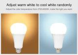 E27 12W het Veranderen van de Kleur en van de Kleur Regelbare Slimme LEIDENE die van de Temperatuur Gloeilamp WiFi met Verre Controlor wordt gecontroleerd