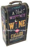 Diseño de la uva decorativos impresión doble de cuero de PU/caja de vino de almacenamiento de madera MDF