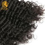 新しい到着の巻き毛100%年のRemyのブラジルの人間の毛髪深く