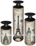 S/3 de la Torre Eiffel Vintage diseño antiguo de madera MDF/Metal del cilindro de la etiqueta de papel Portavelas ronda