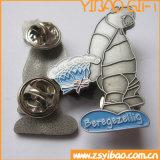 Distintivo del metallo placcato argento su ordinazione di disegno di modo con due frizioni della farfalla (YB-SM-05)