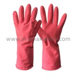 розовый брызг 55g Flocked перчатка перчатки латекса домочадца защитная