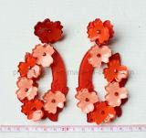 La moda de flores rojas y anaranjadas mezclar y combinar banquete acrílico verde pendientes (PE-057)