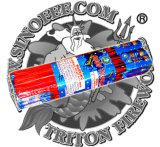 月の旅行者のロケットの笛を吹く花火
