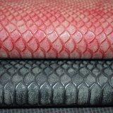 マットの袋のハンドバッグのための表面の魚スケール総合的なPUの革