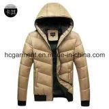 Casacos de estoque / manchas, Jaqueta de pato branco com capuz de inverno Casacos de inverno para homem.