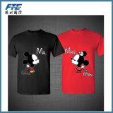 O algodão unisex Seco-Coube o t-shirt dos pares para o amante com o baixo preço