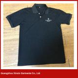 Maglietta degli uomini del Breve-Manicotto della pianura dello spazio in bianco del nero del cotone di buona qualità (P139)