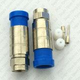Rg11 cable coaxial impermeable del RF del conector masculino de la compresión F