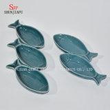 Louça cerâmica de múltiplos propósitos da bacia dos Saucers da porcelana das placas ajustada para o molho da soja do vinagre/salada/Wasabi/a série Oceano do pimentão