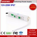 Fonte de alimentação impermeável IP67 do interruptor do diodo emissor de luz da tensão constante 12V 20W