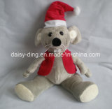 Piccolo orso dell'orsacchiotto di natale con la sciarpa ed i cappelli