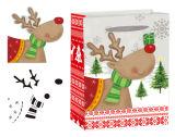 Навальное дешевое рождество Flocking мешки подарка бумажные с ручкой