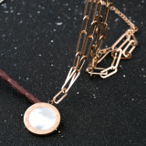 Langer Halsketten-Form-Kostüm-Schmucksache-Edelstahl-Schwarz-Shell-Anhänger