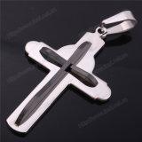 Het Zwarte Kruis van het Roestvrij staal van mensen met zilveren-Toon Jesus Crucifix Pendan (iO-St00P)