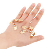 Moda Mulher Antique Gold Carved Leaf Hand Palm Pulseira Bangle Cuff Ring Costume Jewelry