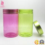 Botella limpia vacía plástica verde/anaranjada/rosada de las cápsulas con el tapón de tuerca de aluminio