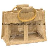 Bolsos de totalizador naturales cómodos a granel al por mayor del yute del bolso de arpillera de Eco con la maneta del bastón