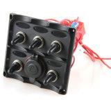 Boat Caravan LED Waterproof 6 Gang Rocker Switch Panel