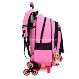 美しいピンクの圧延学生の学校のバックパックの車輪のトロリーランドセル